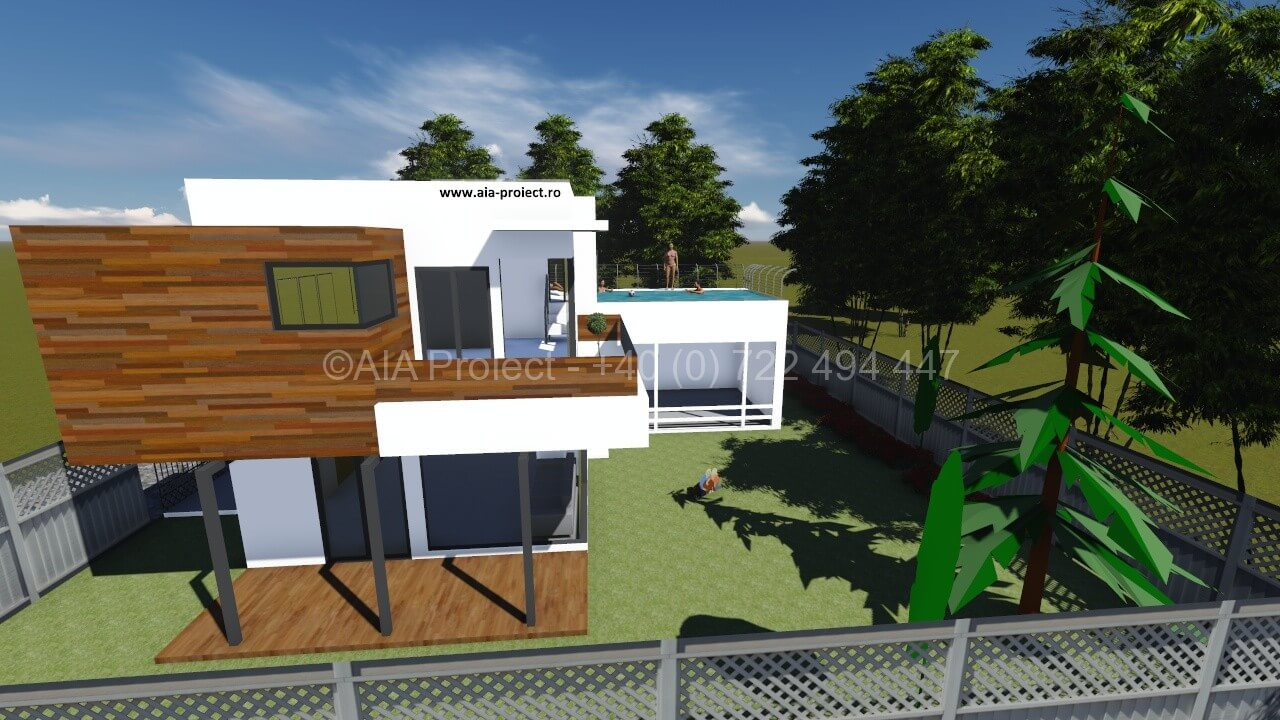 Proiect casa parter cu etaj contemporana 0722494447