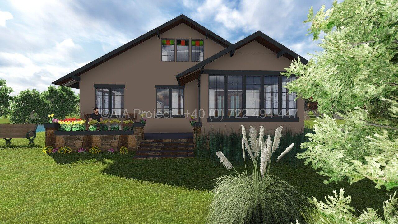 Proiect casa cu mansarda p m arum pentru o locuinta for Arhitectura case cu mansarda