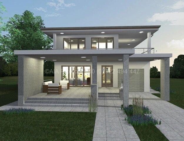 Proiect casa moderna parter cu etaj p 1 dalia de la aia for Proiecte case cu etaj si terasa