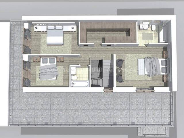 Proiect casa moderna parter cu etaj P+1 Dalia