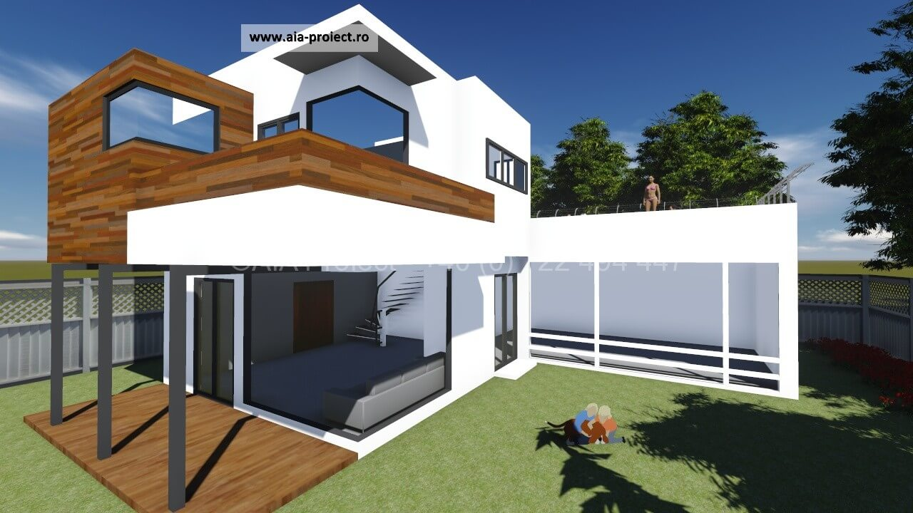Proiect casa parter cu etaj contemporana P+1