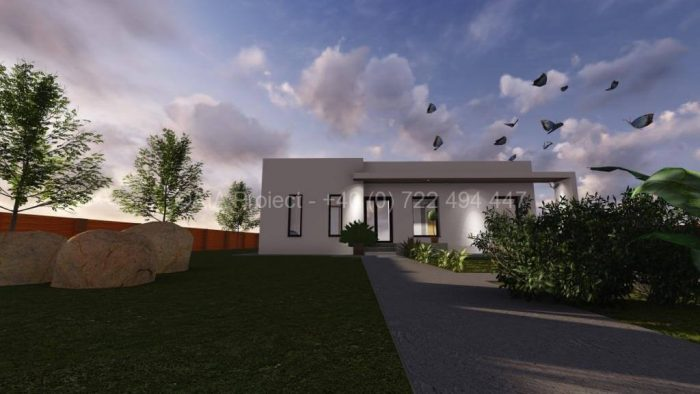 Proiect de casa parter cu terasa Corse