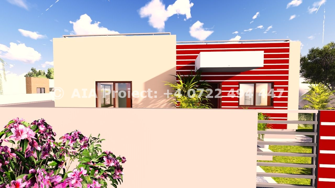 Proiect de casa mica parter cu terasa Azalee