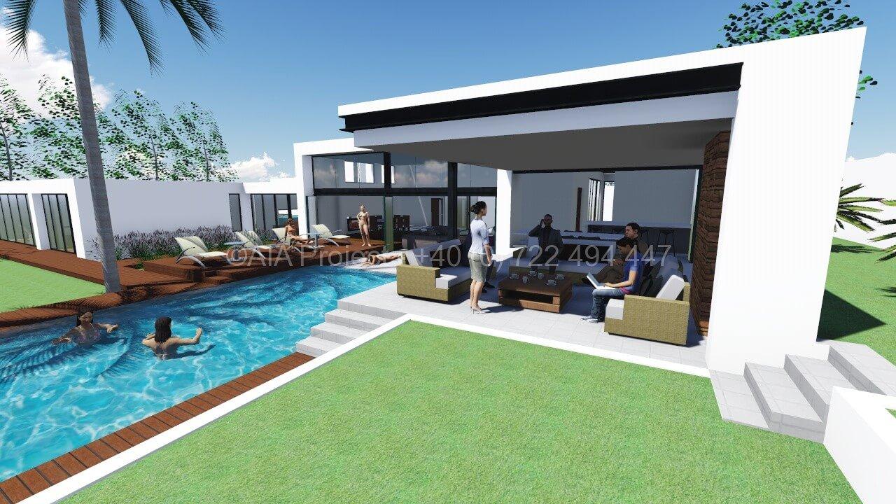 Proiect casa moderna p 1 cala cu arhitectura contemporana for Casa moderna romania