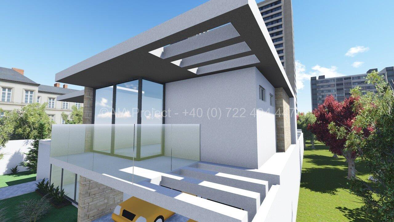 Proiect casa parter cu etaj p 1 moderna anemona for Casa moderna in moldova